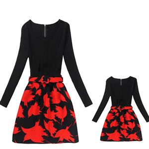Mother and Daughter Vintage Dress, Fashion Mom&Me Clothing, Vintage Dress for Mom&Me, Dresses for Mom&Me, Long Sleeve Dress for Mother and Daughter, Floral Print Tank Mini Dress, #N15534