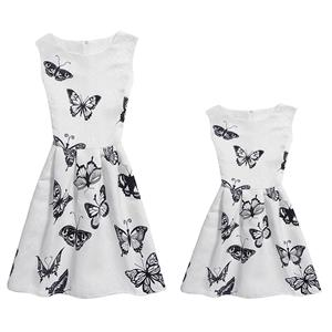 Mother and Daughter Lovely Vintage Dress, Fashion Mom&Me Clothing, Vintage Dress for Mom&Me, Fall Dresses for Mom&Me, Sleeveless Mini Dress for Mother and Daughter, Floral Print Tank Mini Dress, #N15509