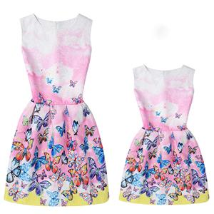 Mother and Daughter Lovely Vintage Dress, Fashion Mom&Me Clothing, Vintage Dress for Mom&Me, Fall Dresses for Mom&Me, Sleeveless Mini Dress for Mother and Daughter, Floral Print Tank Mini Dress, #N15512