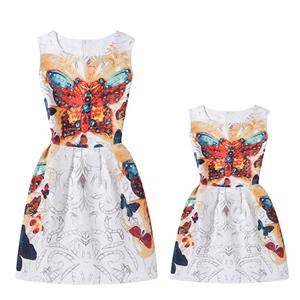 Mother and Daughter Lovely Vintage Dress, Fashion Mom&Me Clothing, Vintage Dress for Mom&Me, Fall Dresses for Mom&Me, Sleeveless Mini Dress for Mother and Daughter, Floral Print Tank Mini Dress, #N15515
