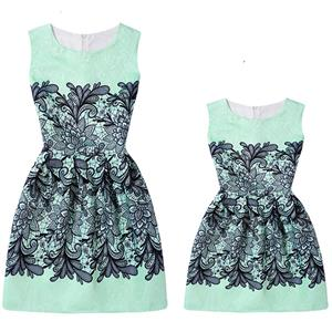 Mother and Daughter Lovely Vintage Dress, Fashion Mom&Me Clothing, Vintage Dress for Mom&Me, Fall Dresses for Mom&Me, Sleeveless Mini Dress for Mother and Daughter, Floral Print Tank Mini Dress, #N15517