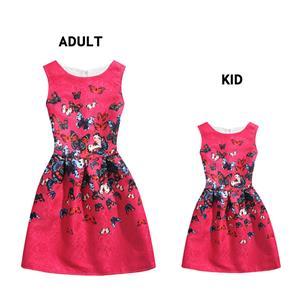 Lovely Vintage Family Matching Dress, Fashion Family Matching Clothing, Vintage Dress for Mather and Daughter, Fall Dresses for Girls, Sleeveless Mini Dress for Mather and Daughter, Floral Print Tank Mini Dress, #N15486