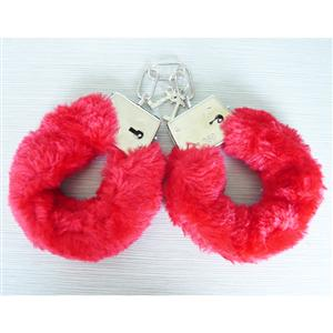 Metal Hand Cuffs, Red Fur Love Cuffs, Fur Cuffs, #MS2984
