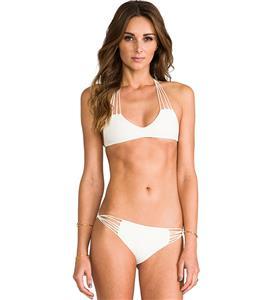 White String Racerback Bikini, Multi-straps Bikini Set, Multi-straps Halter Bathing Suit, #BK8870