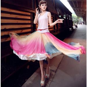 Multicolour Fairy Chiffon Maxi Skirt N9063