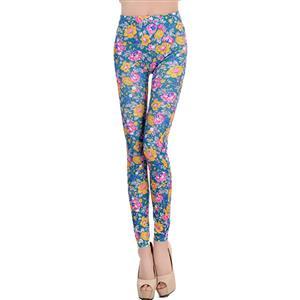Multicolour Flowers Print Jeans, Fashion Blue Floral Leggings, Colorized  Foral Print Leggings, #L6991