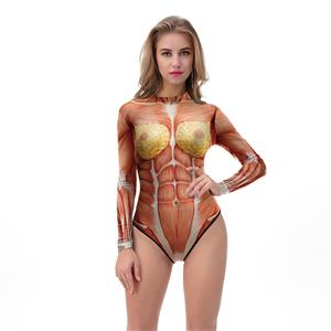 Scary 3D Digital Printed Muscle High Neck Bodysuit Halloween Costume N18317