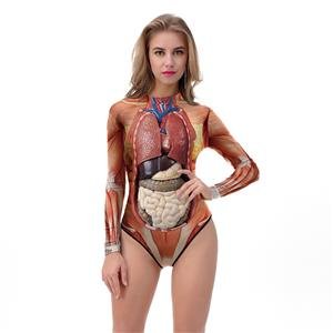 Scary 3D Digital Printed Muscle and Gut High Neck Bodysuit Halloween Costume N18318
