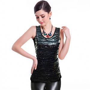Sexy Black Vest Tops, Sequins Top Vest, Cheap Sleeveless T-shirt, Women
