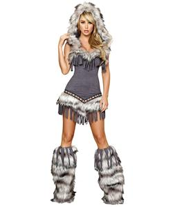 Native American Temptress Costume, Grey Indian Costume, Winter Indian Costume, Native American Winter Costume, #N6201