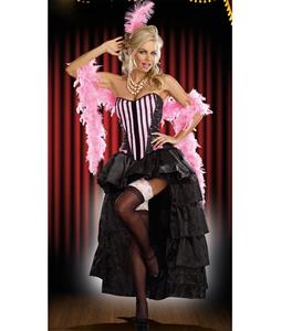 Naughty In Paris Costume, Pink Burlesque Costume, Adult Can Can Costume, Satin Burlesque Costume, #N6769