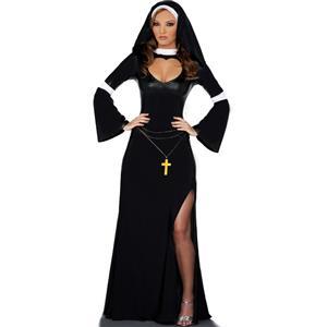 Catholic Monk Costume, Naughty Nun Bad Habit Costume, Arabian Black Long Gown Nun Costume, #N8544