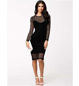 Knee Length Long Sleeve Dress, Netted Overlay Strap Dress, Black Netted Cutout Midi Dress, #N8913