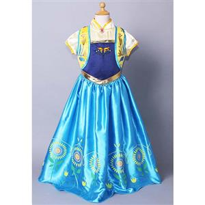2015 New Frozen Fever Anna Kid Princess Dress Costume N10348