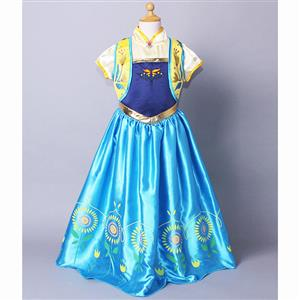 2015 New Frozen Girl Dress, Frozen Fever Kid Costume, Frozen Fever Anna Kid Costume, Cheap Girl Princess Dress, #N10348