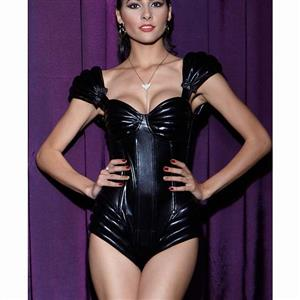 New Style Sexy Black PVC Cap Sleeve Jumpsuit with Underwire Cups N10251