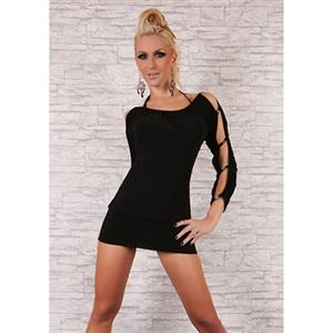 Halter String Mini Dress, Skimpy Long Sleeve Dress, Black Ruched Bateau Dress, #N7679