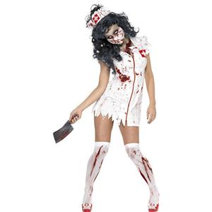 Horror Costume, Halloween Costume with Blood, Zoombie Costume, Scary Costume, Women