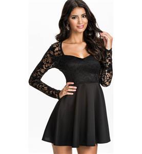 Sexy Black Mini Dress, Lady Lace Dress, Spring Summer Women