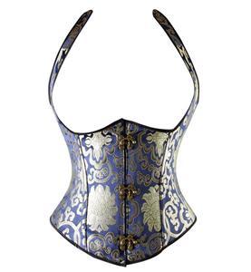 Renaissance Noble Blue Brocade Steel Bone Vest Underbust Corset N9763