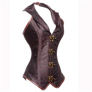 Vintage Brown Jacquard Outerwear Corset, Women