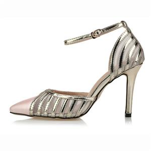Fashion Noble Pink Ankle Wrap Pointed Toe High Heels SWS20314