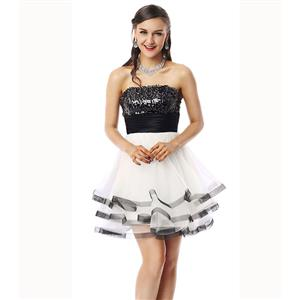 Cheap Homecoming Dresses, Girls Black and White Dress, Hot Selling Sweet 16 Dress, Pretty Girls Dress, #Y30055
