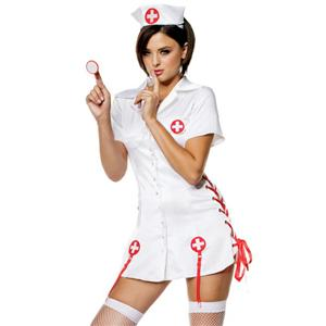 Head Nurse Costume, White Nurse Costume, Adult Nurse Costume, #N4253