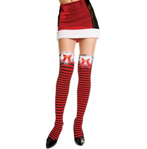 Nylon Striped Thigh Highs, Christmas Stockings, Thigh High Stockings, #HG2853
