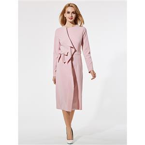 Round Neck Pink Midi Dress, Sexy Women