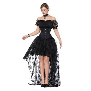 15c37caf0803e Gothic Off Shoulder Crop Top with Underbust Corset High Low Skirt Sets  N18206