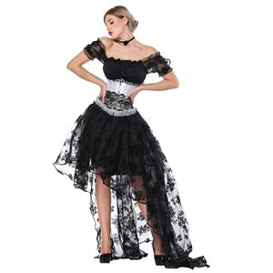 58f8d1de1cf2d Gothic Off Shoulder Crop Top with Underbust Corset High Low Skirt Sets  N18223