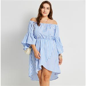 Flare Sleeve Plus Size Dress, Plus Size Dress for Women, Off Shoulder Plus Size Dress, Stripe Plus Size Dress for Women, Day Dress Plus Size, Asymmetric Dress Plus Size, #N16000