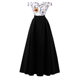Off Sloulder Maxi Evening Gowns, Floral Print High Waist Evening Dress, Women