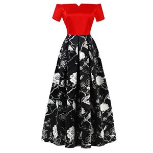 Off Sloulder Maxi Evening Gowns, Floral Print High Waist Evening Dress, Women