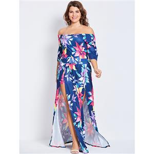 Half Sleeve Dresses for Women, Off Shoulder Plus Size Maxi Dress, Plus Size Maxi Dress, Flower Print Plus Size Maxi Dress, Slim Fit Maxi Dress, Fashion Blue Plus Size Maxi Dresses, #N15997