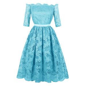 Off-Shoulder Half Sleeve Midi Dress, Elegant Blue Lace A-Line Dress, Vintage Half Sleeve A-Line Midi Party Dress, Women