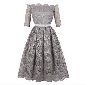 Off-Shoulder Half Sleeve Midi Dress, Elegant Gray Lace A-Line Dress, Vintage Half Sleeve A-Line Midi Party Dress, Women