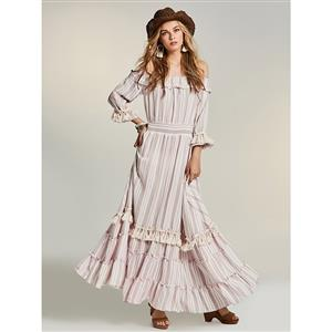 Sexy Dress for Women, Maxi Dresses, Long Sleeve Dress for Women, Off Shoulder Maxi Dress, Floral Print Party Dress , Women Daily Maxi Dress, #N14467