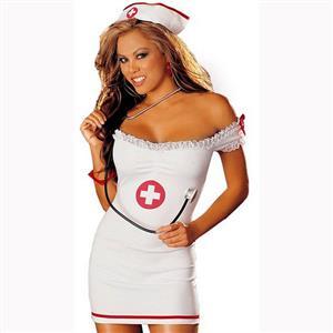 Hot Nurse Bedroom Costume, Sexy Nurse Role Play Dress, Sexy Adult Nurse Cosplay Costume, Nurse Off Shoulder Bodycon Dress, Off Shoulder Nurse Dress Costume, Sexy Nurse Uniform Temptation, #N17438