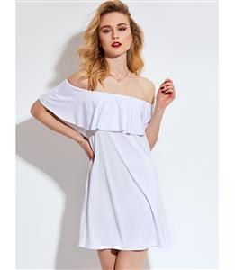 Off Shoulder Dress, White Dress for Party Club, Short White Summer Dress, Ruffle Mini Dress, A-line Short Dress, #N13097