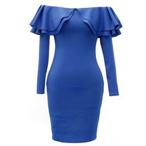 Blue Long Sleeve Dress, Off Shoulder Bodycon Dress, Blue Women
