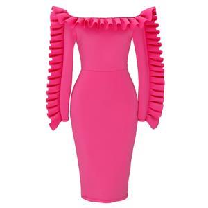 Hot-Pink Long Sleeve Dress, Off Shoulder Bodycon Dress, Hot-Pink Women