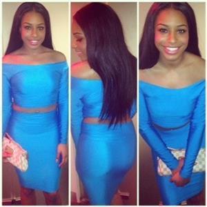 Off The Shoulder Skirt Set, Long Sleeve Bodycon Skirt Set, Blue Satin Cocktail Party Skirt Set, #N8954