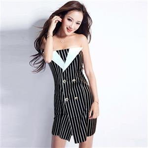 Off The Shoulder Paty Dress, Strapless Vertical Striped Dress, Black & White Vertical Striped Dress, #N9089