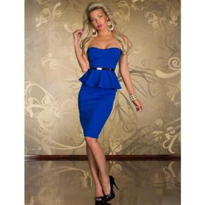 Knee Length Evening Peplum Dress, Off-the-shoulder Blue Peplum Midi Dress, Wrap Chest Halter Cocktail Dress, #N8678