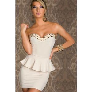 peplum dress, White Fashion Wrapped Chest Mini Dress, punk style of professional women