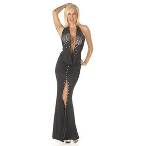 Long Evening Dresses, One Shoulder Black Slit Dress, Black Diamond Long Dress, #N8241