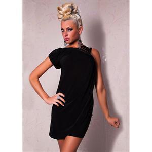 One Shoulder Draped Dress, asymmetrical club dress, Black Dress, #N5672