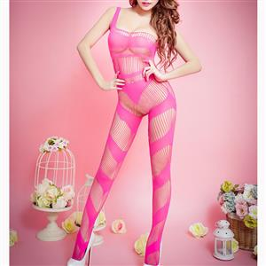 Sexy One Shoulder Bodysuit Lingerie, Rose Red Hollow Out Crotchless Bodystocking, One Shoulder Hollow Out Bodystocking Lingerie, Sexy See-through Crotchless Bodystocking, One Shoulder Open Crotch Bodysuit Lingerie, Hollow Out See-through Open Crotch Bodystocking, #BS16974